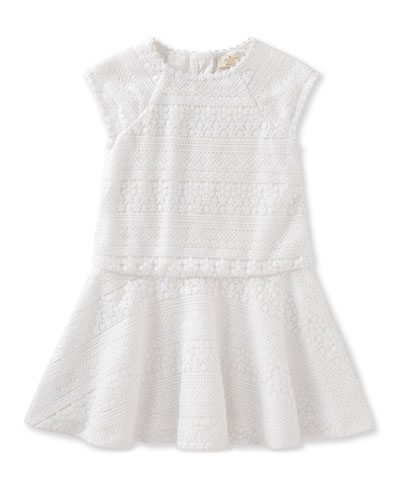 mixed-lace raglan circle dress, white, size 2-6