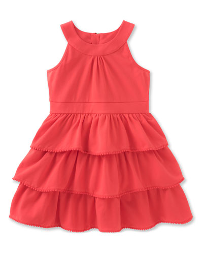 sleeveless tiered stretch jersey dress, red, size 2-6
