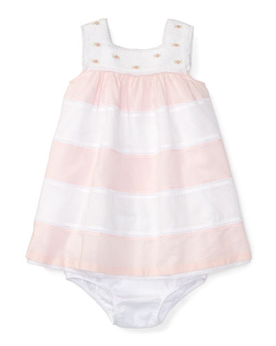 Sleeveless Striped Voile Dress w/ Bloomers, Pink/White, Size 3-24 Months