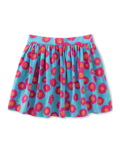 coreen floral stretch poplin skirt, multicolor, size 2-6