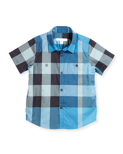 Mini Camber Short-Sleeve Check Shirt, Blue, Size 4