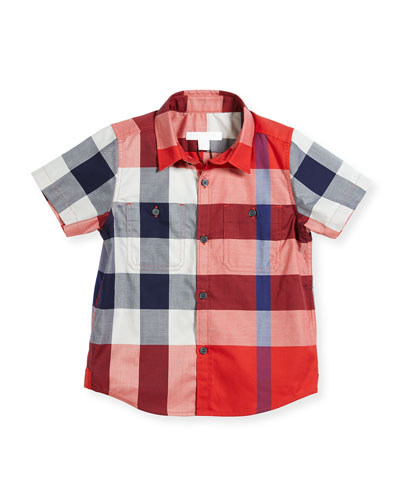 Mini Camber Short-Sleeve Check Shirt, Red, Size 4