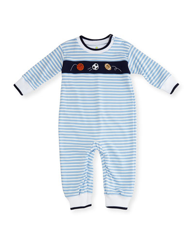 Striped Knit Sport Balls Coverall, Size 3-24 Months