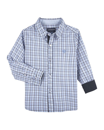 Checkered Dressy Button-Down Shirt, Size 2-7