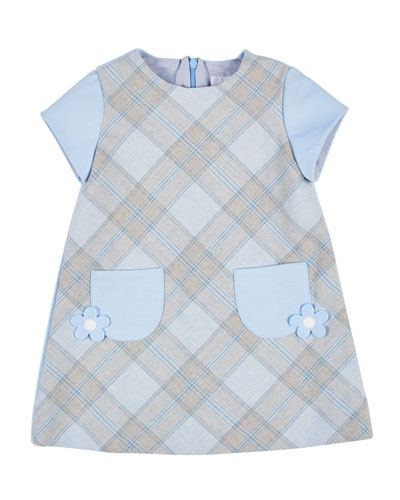 Plaid Ponte Dress w/ Flower Detail, Size 2-6X