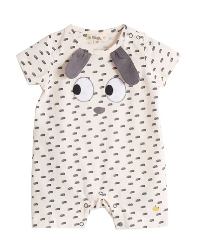 Animal Face Appliqué Printed Shortall, Size 0-18 Months