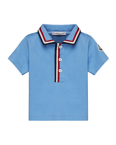 Short-Sleeve Jersey Polo Shirt w/ Flag Trim, Size 12M-3T