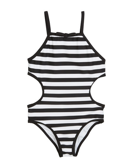 847cdb55549437 kate spade new york striped cutout-sides one-piece swimsuit, size 2-6x