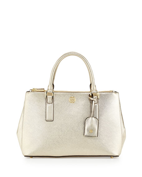 ca57475253c Tory Burch Robinson Metallic Mini Double-Zip Tote Bag