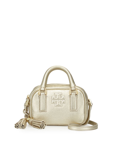 94b362376e3 Tory Burch Thea Metallic Pebbled Leather Mini Satchel Bag