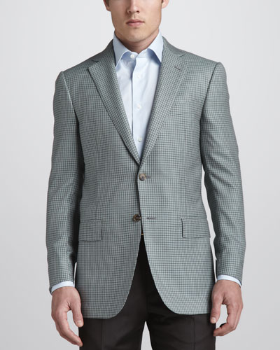 Check Cashmere Sport Coat, Olive