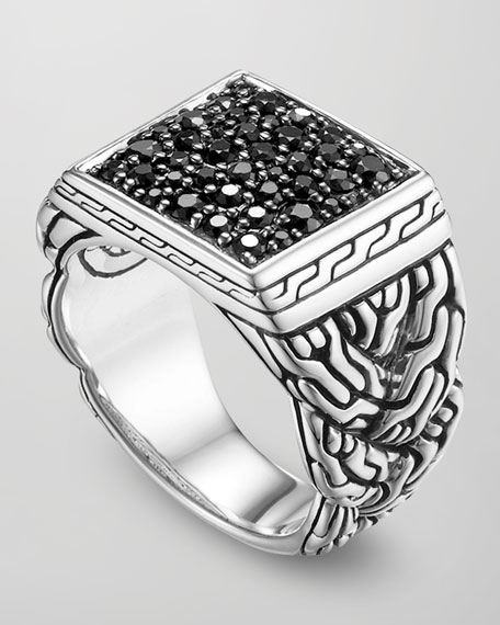 John Hardy Mens Silver Woven Chain Ring, Size 10