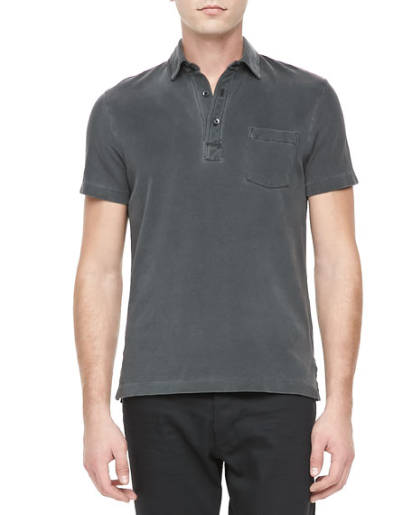 Pocket Gray Patch Med Polo Casual rxoeCdB