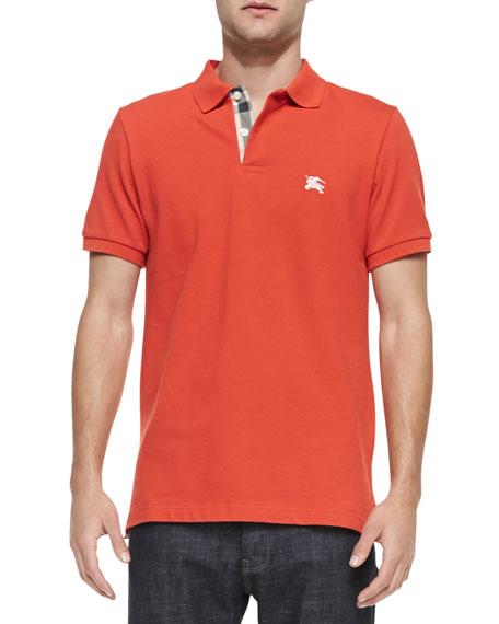 459ac5a09 Burberry Brit Check-Detail Pique Polo, Orange-Red