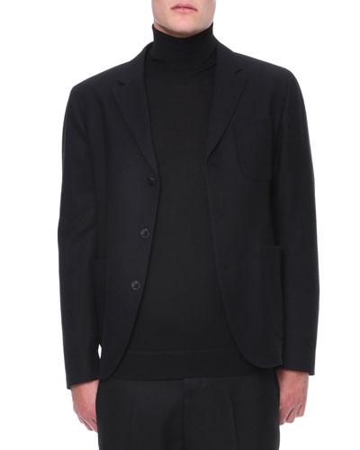 Back Zipper-Detail 3-Button Jacket
