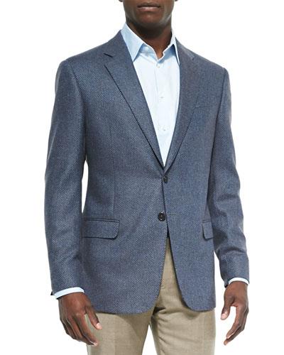 Mini-Check Wool-Blend Jacket, Brown/Blue