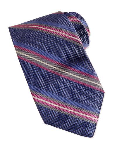 Grenadine Stripe Tie, Blue