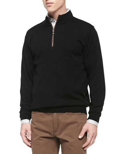 Merino 1/4-Zip Pullover Sweater, Black