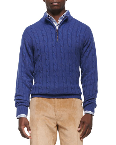Cashmere Cable-Knit 1/4-Zip Sweater, Blue