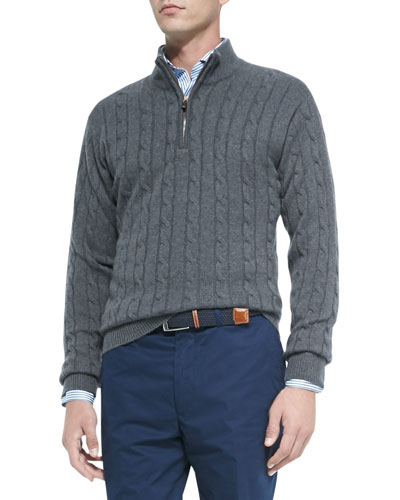 Cashmere Cable Knit Quarter-Zip Sweater, Charcoal