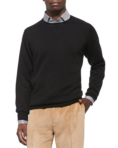 Loop Back Crewneck Sweater, Black