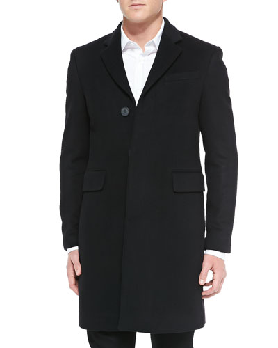 Single-Breasted Wool/Cashmere Coat, Black