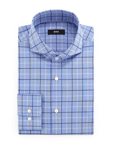 Dwayne Slim-Fit Plaid Dress Shirt, Blue/White