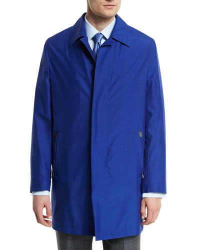 Silk-Blend Car Coat, Blue