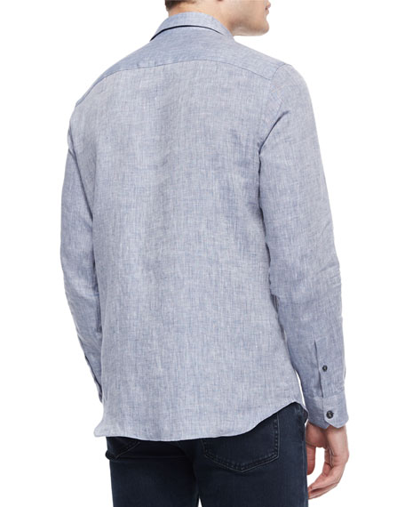 Melange Long-Sleeve Linen Shirt, Blue