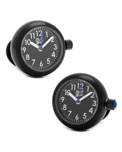 Watch Movement Cuff Links, Black