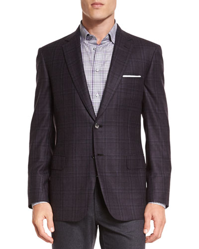 Plaid Two-Button Jacket, Aubergine/Gray