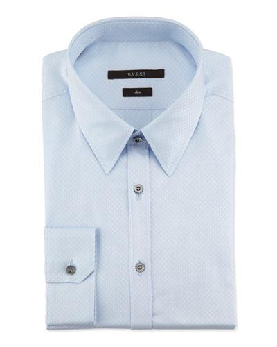 Slim-Fit Diamante Dress Shirt, Light Blue