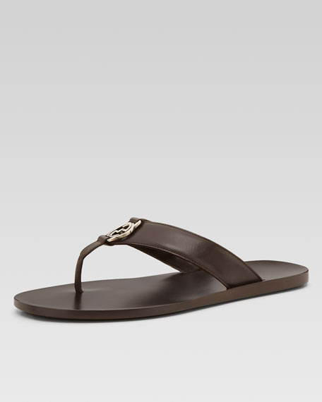 7ff620ae0 Gucci GG Line Leather Thong Sandal