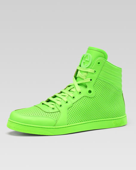 Leather High Sneaker Neon Coda Top Green QdhCtsr