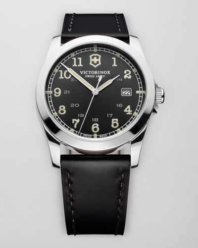 Infantry Leather Watch, Black