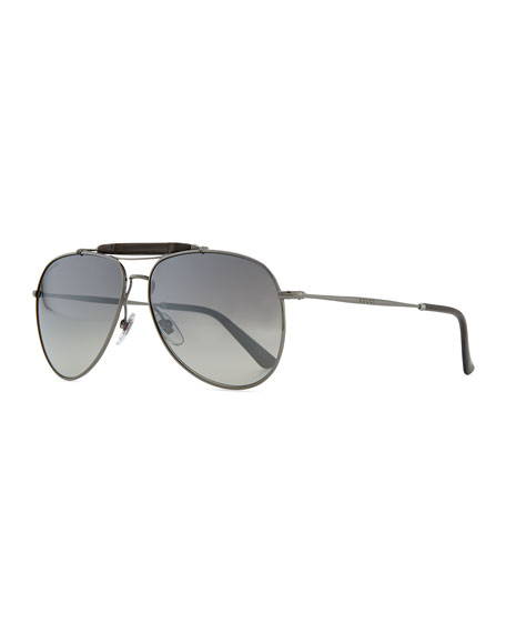 07ce98ba5f050 Gucci Bamboo Aviator Sunglasses