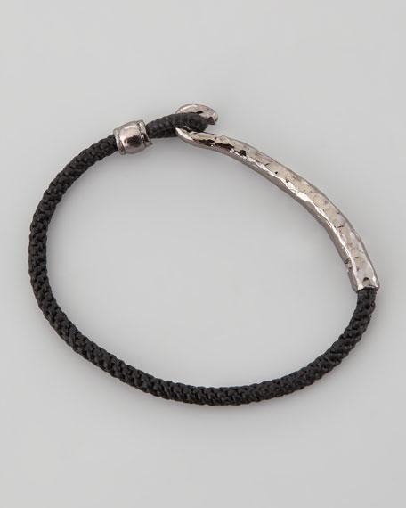 Men S Silver Metal Clasp Bracelet Black