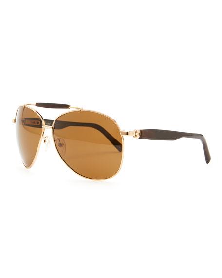 50e16c77e34 Brioni Horn   Metal Aviator Sunglasses