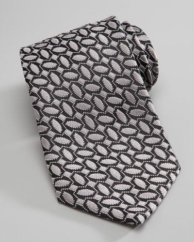 Geometric-Print Silk Tie, Silver/Black