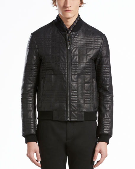Gucci Quilted Leather Bomber Jacket Black