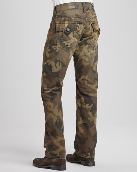 True Religion Ricky Distressed Camouflage Jeans, Green 161d415aa1db