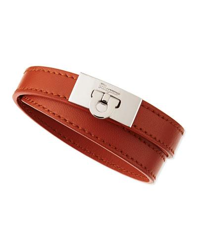 Men's Gancini Leather Wrap Bracelet, Tan