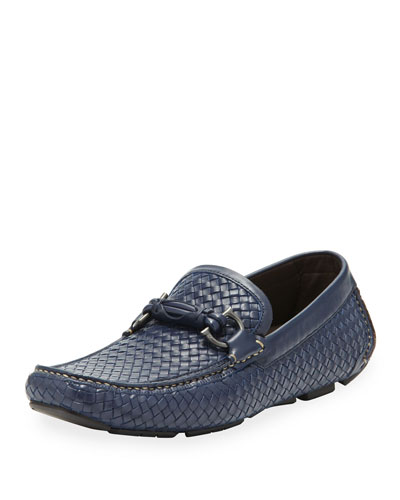 Round Woven Leather Driver, Navy