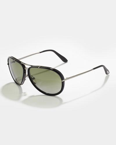 Cyrille Men's Polarized Aviator Sunglasses, Black