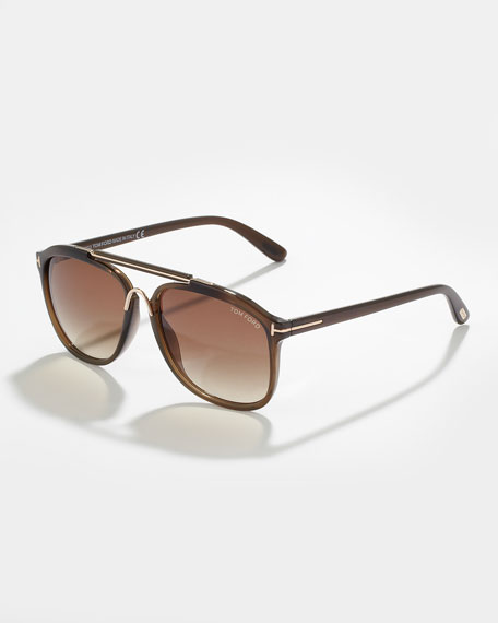 24febf9cbc TOM FORD Cade Plastic Aviator Sunglasses