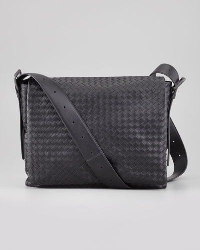 Men's Woven Flap Messenger Bag, Black