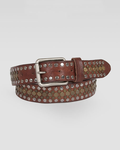 Singer Studded Leather Belt Brown