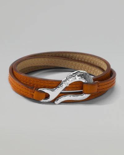 Men's Pelle Sterling-Hook Leather 3-Wrap Bracelet in Tan, Size 2
