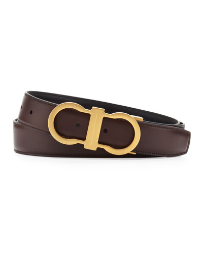 salvatore ferragamo reversible golden gancini belt brown