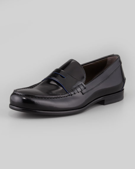 Penny loafers in burnished leather BOSS 58c2Lueri